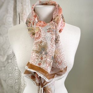 JOHNNY WAS | Antique Floral Sheer SCARF w/Tassels